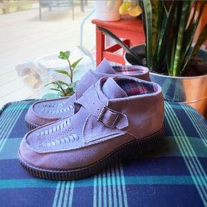 Skechers Suede Booties heel boots gray Sz 7.5